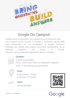 Locandina Google on Campus 19 novembre